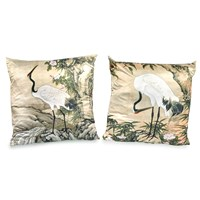 White Crane Pillows