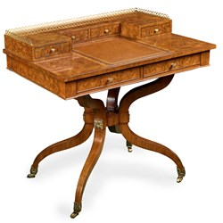 Regency Carlton House Burl Walnut Writing Desk