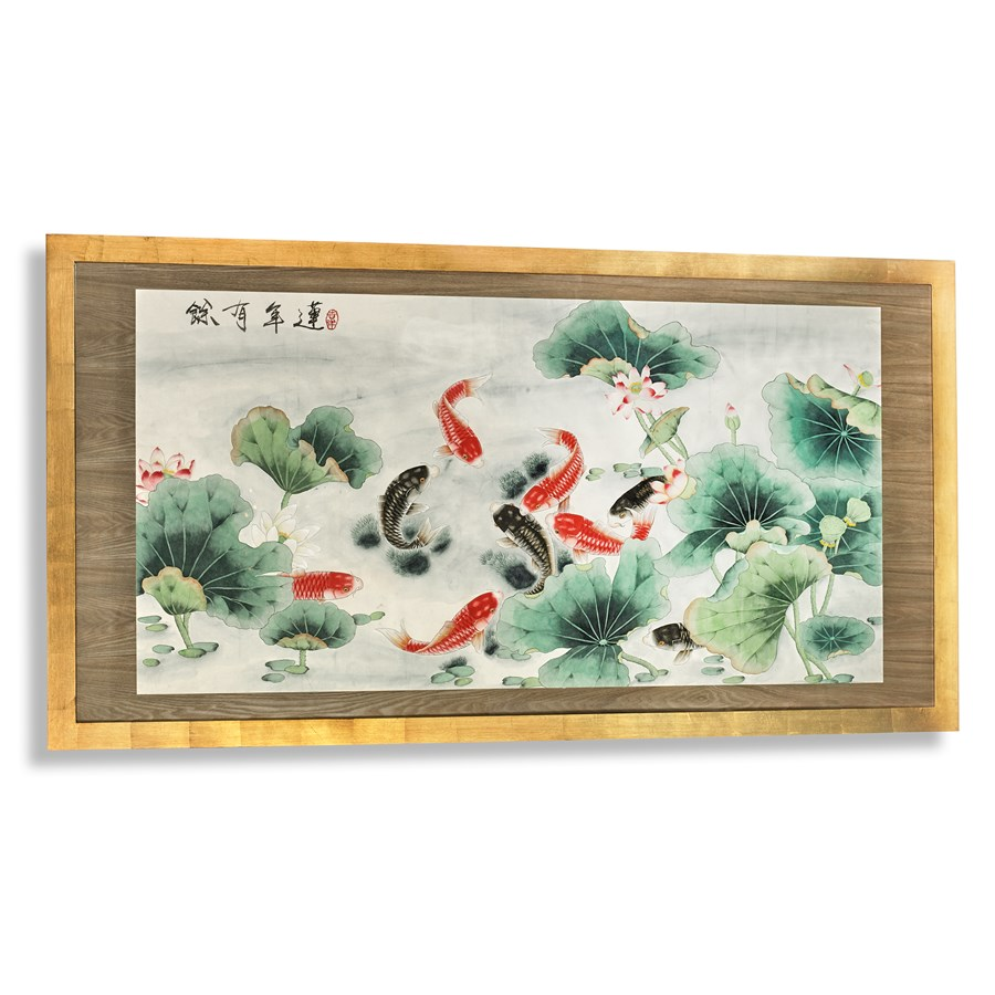 Garden pond handcolored painting paintings prints for Pond decorative accessories