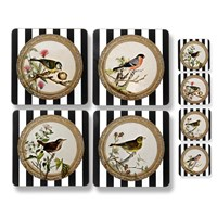 Striped Songbird Table Mats and Coasters