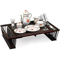 Breakfast Bed Tray with Reading Rack, Mahogany Finish