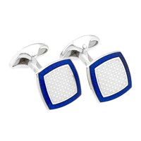 Sterling Silver and Enamel Cushion Cufflinks