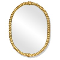 Oval Twist Mirror, Antique Gold