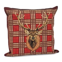 Stag Head Plaid Tapestry Pillow