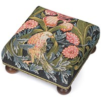 Iris and Bird Tapestry Footstool