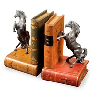 Leather Bookends with Horses