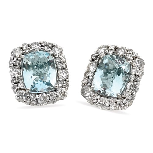 Aquamarine Checkerboard Earrings