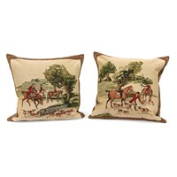 English Hunt Scene Tapestry Pillows