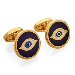 Halcyon Days Evil Eye Navy Cufflinks
