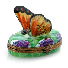 Butterfly on Grapes Limoges Box