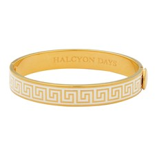 Halcyon Days Greek Key Bangle, Cream and Gold