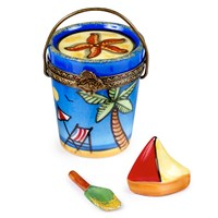Beach Bucket with Sailboat and Shovel Limoges Box