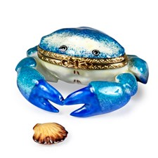 Blue Crab with Seashell Limoges Box