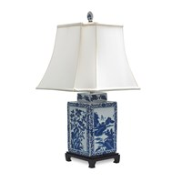 Blue and White Chinoiserie Porcelain Jar Lamp