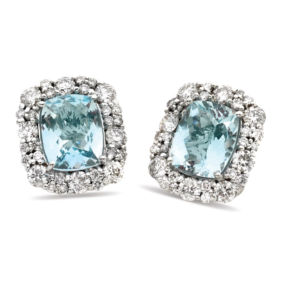 Aquamarine Earrings With Diamonds Hover To Zoom