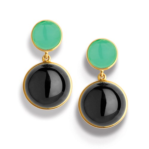 Black Onyx and Chrysoprase Earrings