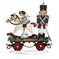 Pewter Train Car with Toy Soldier and Horse