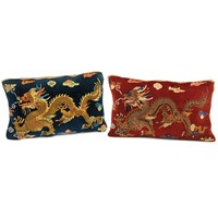 Dragon Carpet Pillows, Navy and Red