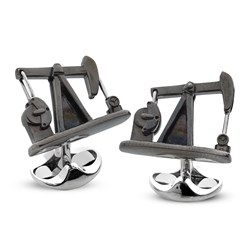 Sterling Silver Oil Pumpjack Cufflinks
