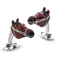 Sterling Silver Horse Head Enamel Cufflinks