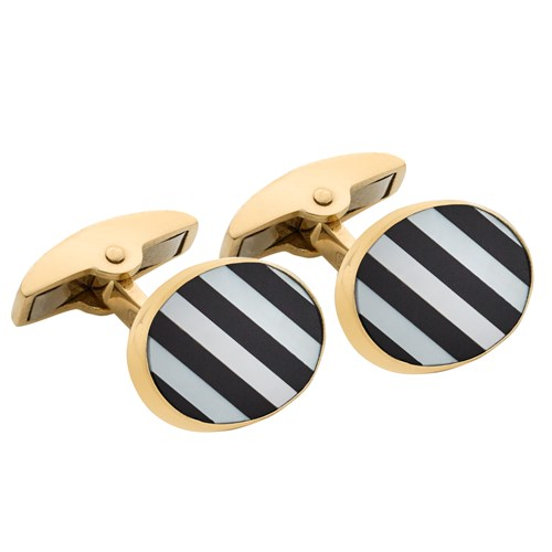 18k Mother of Pearl Stripe Cufflinks