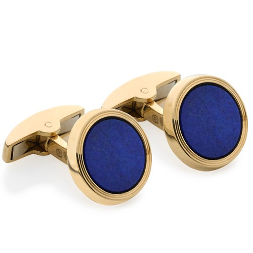 18k Yellow Gold Cufflinks with Lapis Lazuli