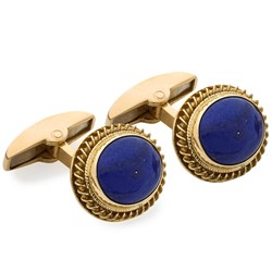 18k Yellow Gold Oval Cufflinks with Lapis Lazuli