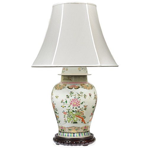 Chinoiserie Floral Multicolored Table Lamp