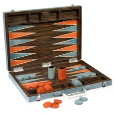 Shagreen Backgammon Set, Orange & Moon Blue
