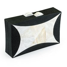 Diamond Clutch with Black Shagreen & White Kabibe Shell