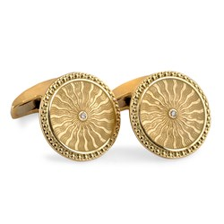 18k Yellow Gold Round Cufflinks with Diamonds