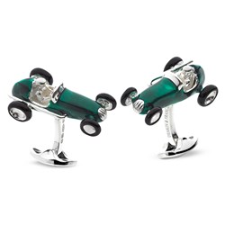 Sterling Silver Race Car Cufflinks