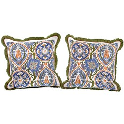 Silk Majolica Turkish Tile Pillows, Green Trim