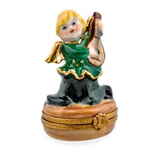 Green Angel with Ukulele Limoges Box