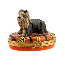 Yorkie on Plaid Limoges Box