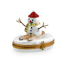 Snowman on Skis Christmas Limoges Box