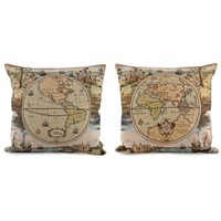 World Map Tapestry Pillows