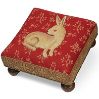 Rabbit Tapestry Footstool, Red