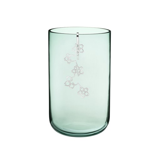 Christofle Medium Mouth Blown Glass Vase with Mobile Silver Plated Ornament, Green