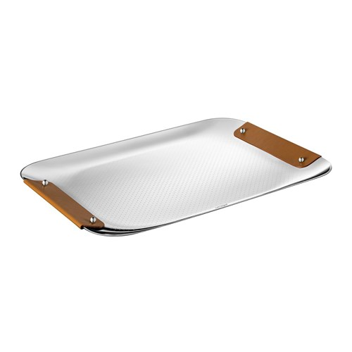 Christofle Collection Club Stainless Tray with Camel Leather Handles