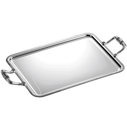 Christofle Malmaison Silverplated Rectangular Trays with Handles