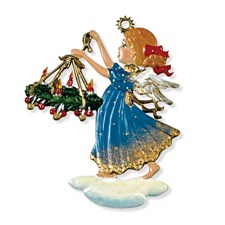 Pewter Angel Carrying Wreath Ornament