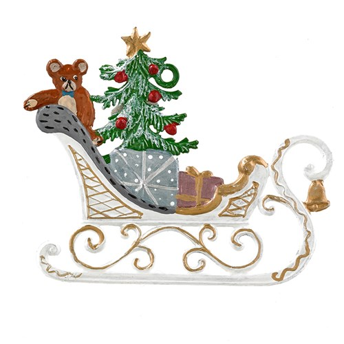Pewter Sleigh with Gifts Ornament