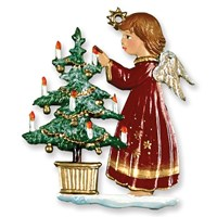 Pewter Angel Decorating Tree Ornament