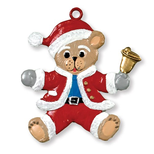 Pewter Santa Teddy Ornament