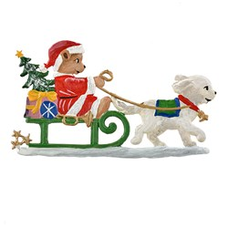 Pewter Santa Teddy in Dog Sled