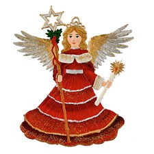 Pewter Radiant Angel Ornament in Red