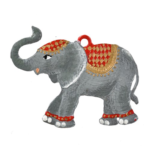 Pewter Christmas Elephant Ornament