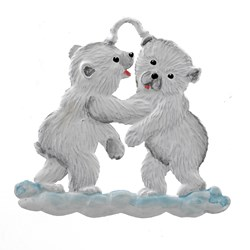 Pewter Polar Bear Twins Ornament