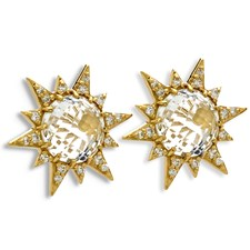 18K Yellow Gold Aztec Starburst White Topaz & Diamond Earrings, Posts Only